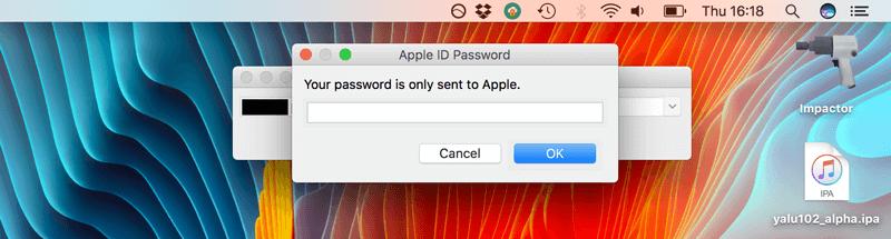 درخواست پسورد Apple Id در برنامه Cydia Impactor