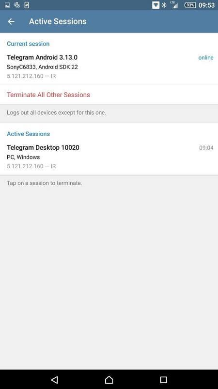 نشست های فعال تلگرام