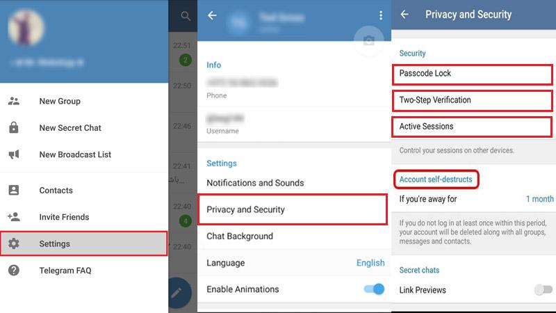 ايمن سازي تلگرام با استفاده از بخش Privacy and Security