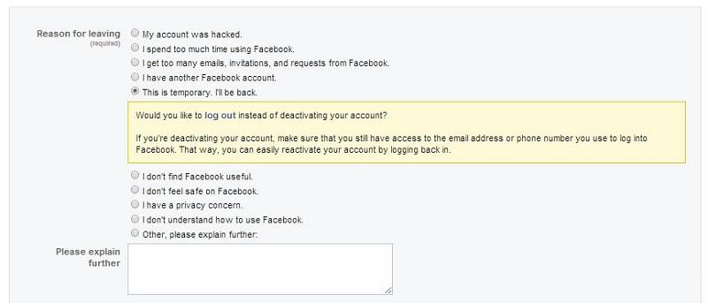 آموزش نحوه حذف اکانت فیس بوک