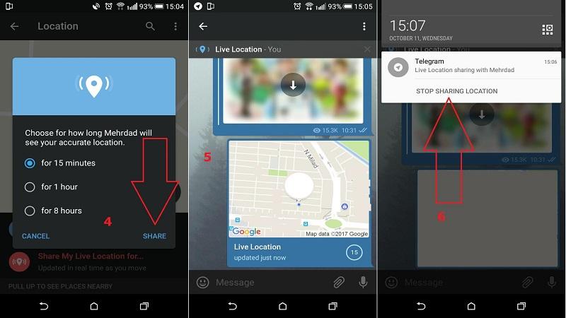 2 1 اموزش ارسال لایو لوکیشن تلگرام 4.4