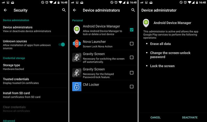 غیرفعال سازی Android Device Manager
