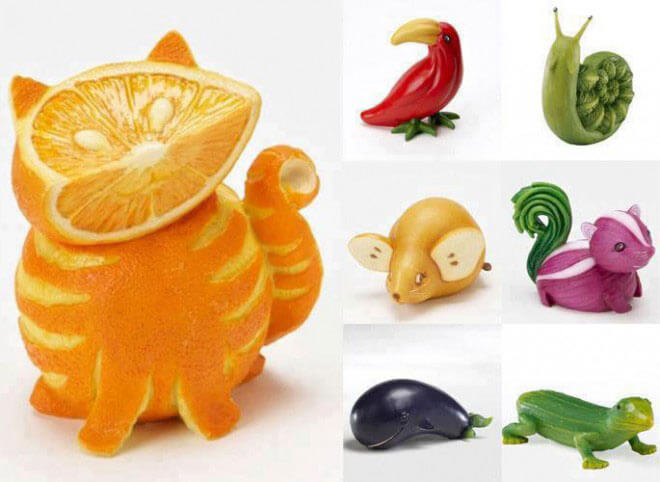طراحی حیوانات مختلف با پرتغال، فلفل، سیب زمینی، پیا و خیار