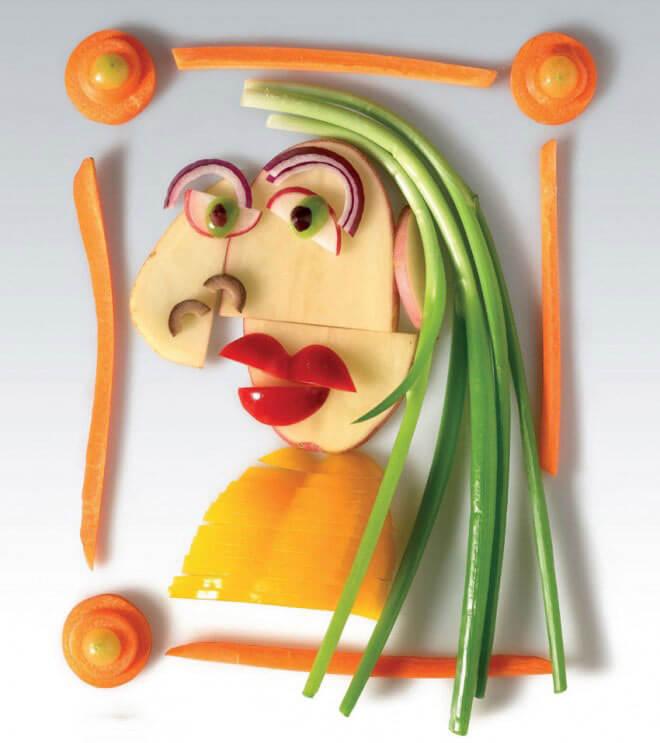 طراحی کاریکاتوری با سبزیجات