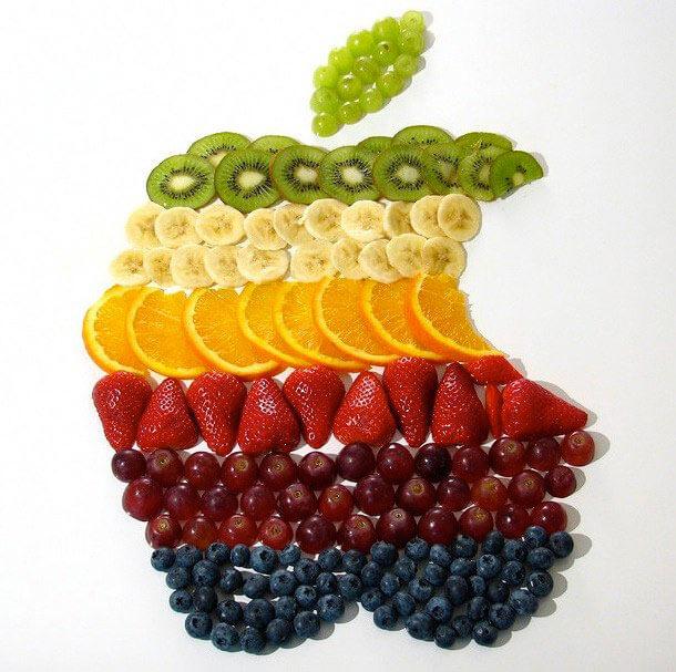 طراحی سیب با تزیین میوه های مختلف