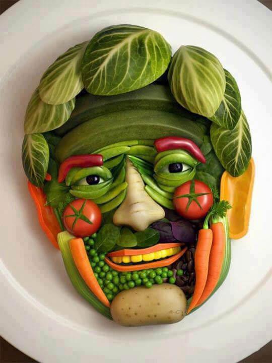 طراحی چهره یک مرد با سبزیجات