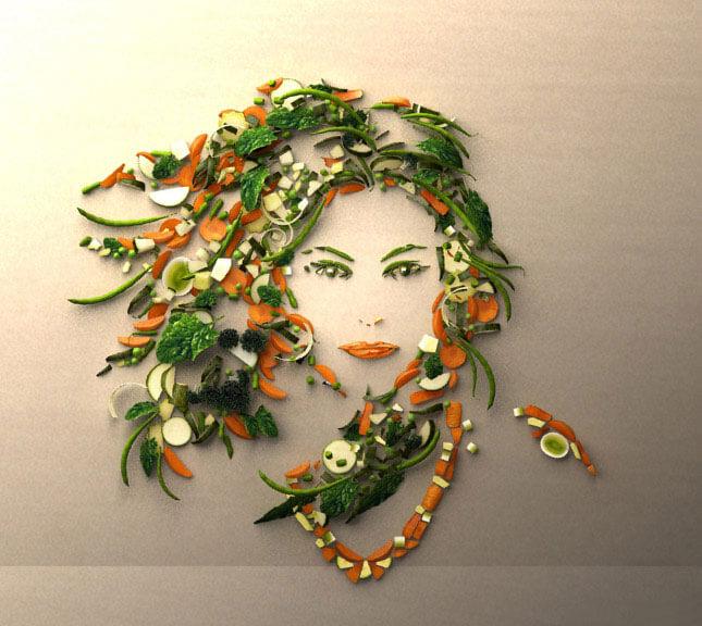 طراحی چهره یک زن با سبزیجات