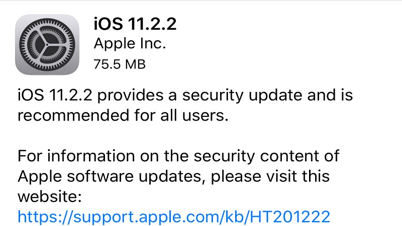 آپدیت ios 11.2.2