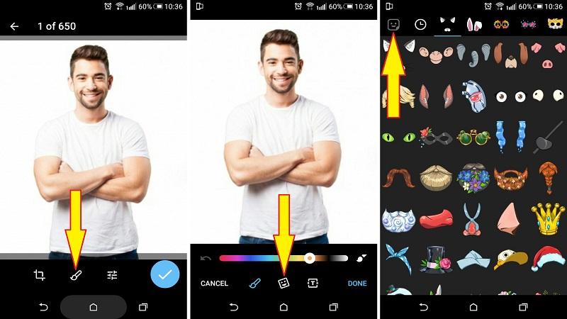 مراحل تصویری اضافه کردن استیکر به عکس در تلگرام