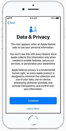 بخش امنیت داده ها در ios 11.3