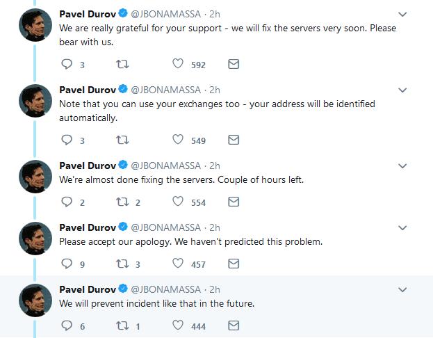 رشته ای از توئیت های اکانت جعلی پاول دورف