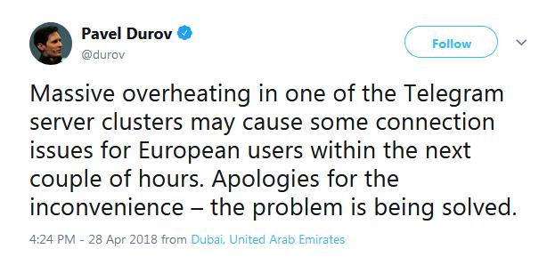 توئیت پاول دوروف در خصوص اختلال تلگرام در صبح امروز
