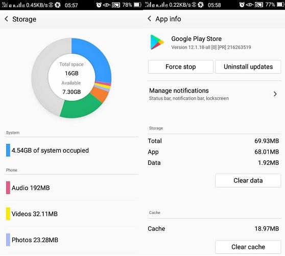 پاک کردن برنامه های اضافی و حافظه پنهان دستگاه برای رفع ارور بارگیری درحالت تعلیق در گوگل پلی