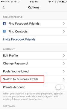 """انتخاب گزینه """"Switch to Business Profile"""""""